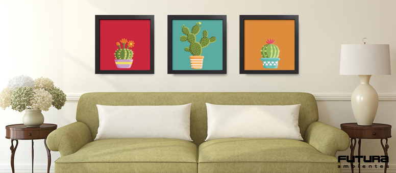 Quadros, placas e telas são muito bem-vindos para compor a decoração | Futura Ambientes